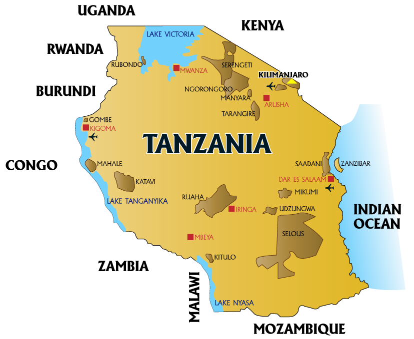 Blue Rhino Expeditions Tanzania Facts - Map of tanzania